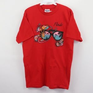 80s Florida Beach Fish Spell Out T-Shirt Red M